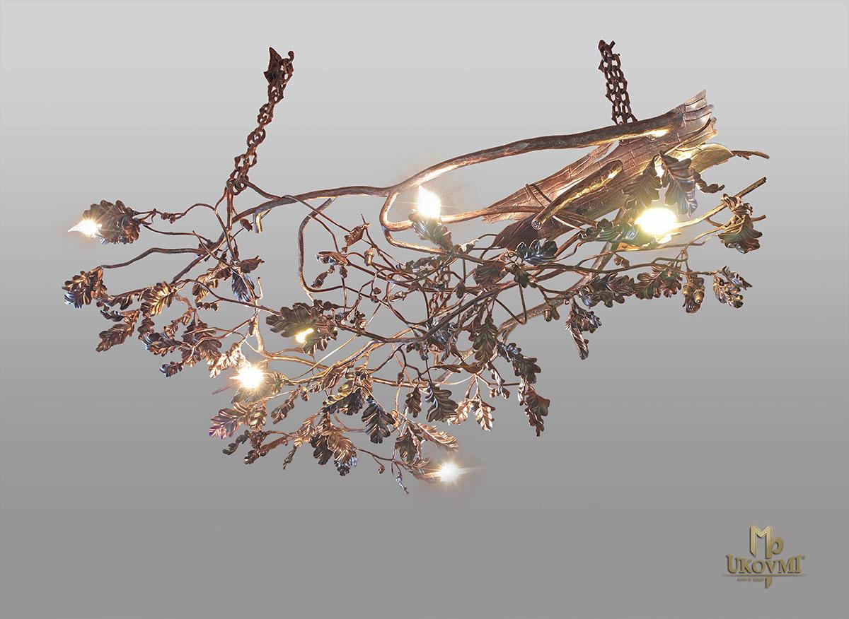 Závesné svietidlo – kovaný luster DUB - umelecké ručne kované svietidlo
