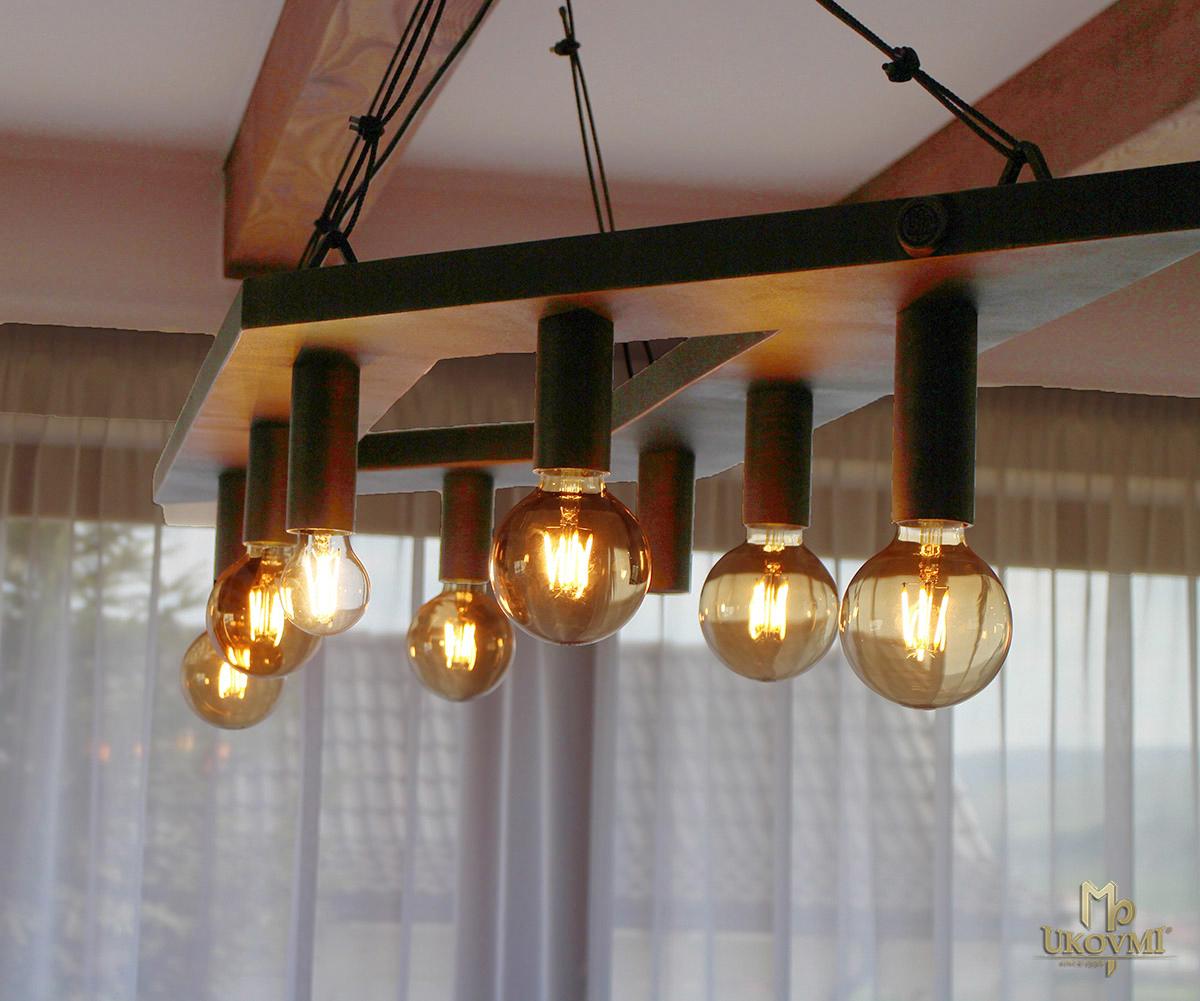Dizajnové kované svietidlo kosodĺžnik - moderný luster