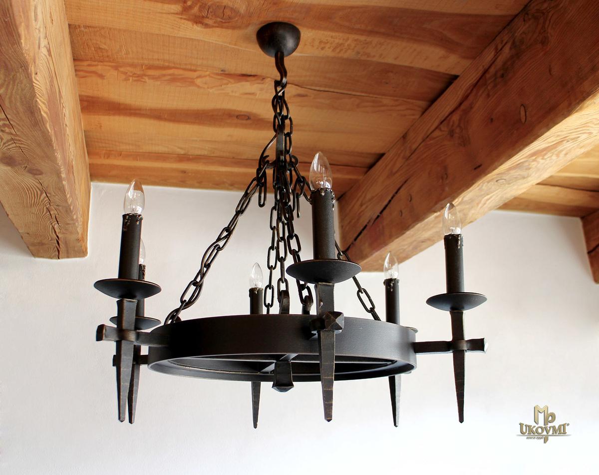 Historický kovaný luster ANTIK - interiérové 6-sviečkové svietidlo