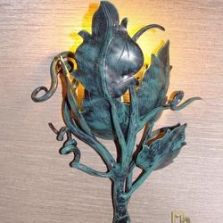 Kované nástenné svietidlo SLNEČNICA II. - luxusné interiérové svietidlo