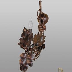 Nástenná - bočná kovaná lampa VINIČ S HROZNOM - umelecké interiérové svietidlo