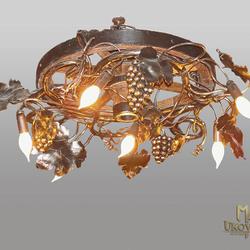 Závesné svietidlo – kovaný luster VINIČ/KOLESO malé - exkluzívne interiérové svietidlo