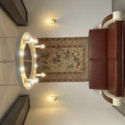 Luxusné kované závesné a nástenné svietidlá a kožená sedačka v industry štýle - dizajnový nábytok z UKOVMI