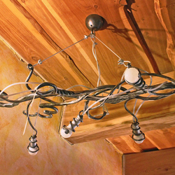 Štýlový luster KOREŇ - umelecké ručne kované svietidlo - moderné osvetlenie interiéru
