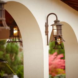 Luxusné bočné lampy ručne vykované pre exteriér - svietidlá pre osvietenie garáží v medenej patine