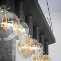 Kované závesné svietidlo v modernom štýle - dizajnový luster kosodĺžnikového tvaru s pečaťou UKOVMI