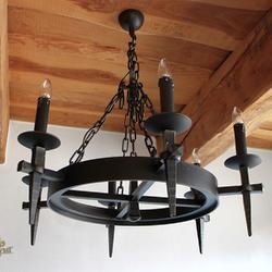 Luxusné závesné svietidlo v historickom štýle so šiestimi sviečkami - interiérový umelecký luster ANTIK