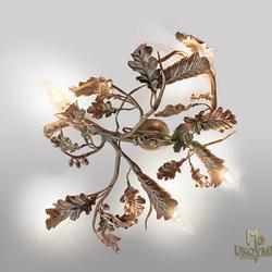 Závesné svietidlo DUB so žaluďami v medenej patine - interiérové osvetlenie vhodné aj do altánkov