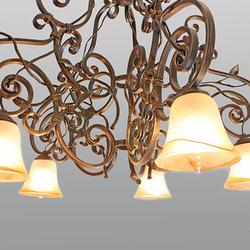 Majestátne interiérové svietidlo RUSTIKÁL - päťramenný ručne kovaný luster do väčších interiérových priestorov
