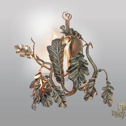 Ručne kované bočné svietidlo DUB - umelecký dizajn - nástenná lampa z ateliéru kováčskeho umenia UKOVMI