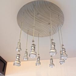 Moderné závesné svietidlo z brúseného nerezu ŠPIRÁLKY - interiérové svietidlo