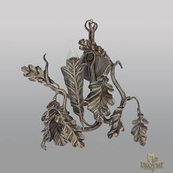 Umelecké nástenné svietidlo DUB v medenej patine - luxusné svietidlo do interiéru - kovaná bočná lampa